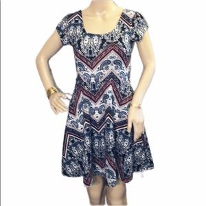 Papaya Paisley Fit and Flare Belted Dress M